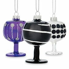 Ornament Epic Products Midnight Wine Glass 1 each Purple Black Silver Set of 3
