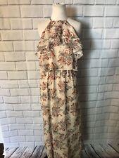 NWT Love Fire Maxi Dress Sz L Halter Ruffle Top Red Brown Floral Print Long $49