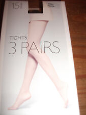 ex JOHN LEWIS 3 PAIR PACK TIGHTS 15 DEN. LADDER RESIST MOCCA (BROWN) SMALL £3.00