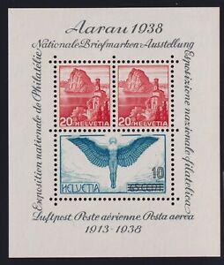 Switzerland Sc #242 (1938) National Philatelic Exhibition Souvenir Sheet Mint VF