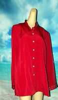 MAGGIE SWEET Classics Sequin Embellish NEW Red Sateen Sheen Tunic top medium M