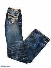 Rock Revival Kai Boot Cut Distress Jean Thick White Stitch Womens Size 28 x 32.5