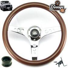 Land Rover Defender Classic Wood Rim Steering Wheel 36 Spline Boss Kit & Horn