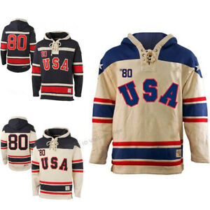 Rertro 1980 Miracle On Ice USA Hockey Sweater Custom Any Names Stitched Hoodie
