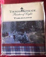 "FREE Matching Runner Thomas Kinkade's 60"" x 102"" Christmas Holiday Tablecloth"