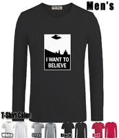 I Want To Believe Design Long Short Sleeves Men's Boy's T-Shirt Graphic Tee