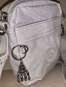 👜 Kipling Hisa Mini Crossbody Twist Grey With Monkey Ollie NWT Handbag 🎄🎁