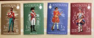 ANTIGUA 1970, SG290 ½c,  MILITARY UNIFORMS (1ST SERIES),SET OF 4 STAMPS, MNH,75p