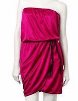 Speechless Juniors Cherry Ceris Pink Halter Belted Tube Dress M 7-9