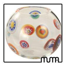 Vaso bombato in vetro artistico veneziano con murrine policrome, idea regalo