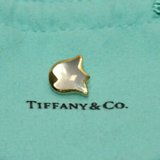 Vintage Tiffany & Co. 18k Yellow Gold - Mother of Pearl Lily Slide Pendant RARE