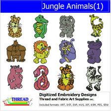 Embroidery Design Cd - Jungle Animals(1) - 12 Designs - 9 Formats - Threadart