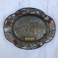 Bremerton Washington State Souvenir Metal Trinket Ashtray JAPAN Bears Vintage