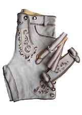 Herren Trachten-Lederhose kurz mit Hosenträger Gr.48 Bundweite 84-87cm