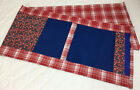 Patchwork Country Quilt Table Runner, Squares & Rectangles, Red, White, Blue