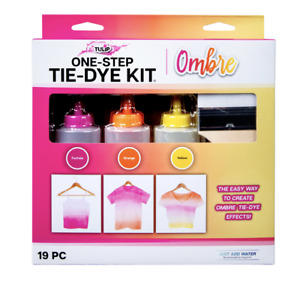 Tulip One-Step Tie-Dye Kit, Ombre, (Fuchsia, Orange and Yellow), 19 Pieces