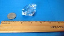 """OLEG CASSINI Signed 2"""" Crystal Diamond PAPERWEIGHT CLEAR ROUND FACETED Engaged"""