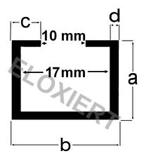 Alu C-Profil 13x22x6x2,75mm (11€/m) passend M10 Schraube / Mutter ELOXIERT 2m
