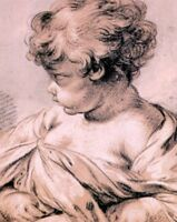 Francois Boucher Study Child French Rococo Style Chalk Drawing Poster - 12x18