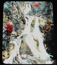 GLASS MAGIC LANTERN SLIDE THE WATERFALLS AT NIKKO C1910 JAPANESE JAPAN