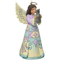 Jim Shore Heartwood Creek Pint Size Bereavement Angel with Kitten Figurine, 5""