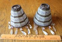 Lot of 2 Beaded Lamp shades Purple stripe Crystal Glass seed bead Vintage sconce