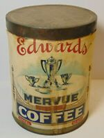 Old Vintage 1920s EDWARDS COFFEE TIN GRAPHIC TALL ONE 1 POUND CAN CLEVELAND OHIO