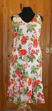 PER UNA M&S ivory off-white red coral green floral summer holiday dress 18R 46