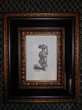 Old Master Style 1795 Etching Peasant Woman Carrying Wares on Her Head Signed