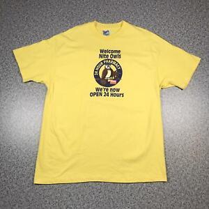 90s Vintage NITE OWLS PHARMACY T Shirt XL   Single Stitch Hanes