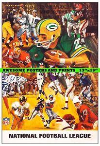 RARE, 1968 NFL, NATIONAL FOOTBALL LEAGUE ARTWORK. LARGE REPRINT. 13x19