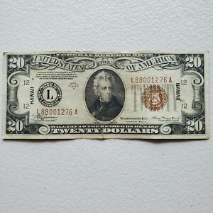 $20 Federal Reserve Note  1934 A   Hawaii   Brown Seal  Wartime Currency