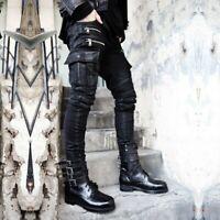 Fashion Men Short Strap Comfort Coat Punk Rock Gothic Casual Jacket Autumn