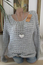 Douillette grossier pull pull en tricot 36 38 40 extra-large BOHO chaud gris