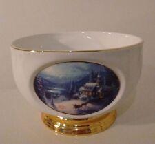 Thomas Kinkade Painter of Light Sunday Evening Sleigh Ride Vase Bowl Teleflora