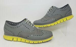 Cole Haan Zerogrand No Stitch Men 10.5 Gray Ripstop Neon Oxford Shoe Sneaker