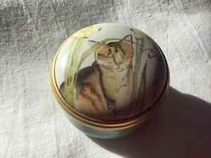 Halcyon Days Enamels. Cats & Gladioli Trinket Pill Pot.