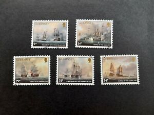 Guernsey stamps 1986 150th Anniv of Admiral Lord Saumarez Set of Five Fine used.