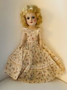 """Vtg Tagged 14"""" Mary Hoyer Doll Fashion Signed Party Dress Lace Floral Gown"""