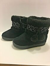 New Toddler Girls Black Boots Size 5 -10 Zip Up Winter Fashion Pom Pom Boots
