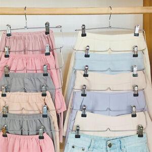 6-layer hanger with clip silver can hang hanger, skirt/trouser hanger。