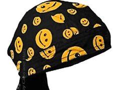 Smiley Face Yellow Black Doo Rag Durag Headwrap Biker Bandanna Pirate Chemo Cap