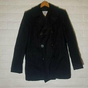 Men's US Navy Issue Black Pea Coat Sz 38R 100% Wool DSCP Quarterdeck Collection