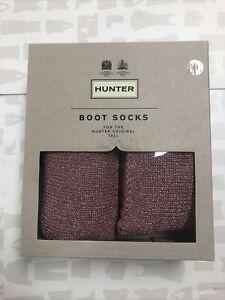 Hunter Women Pink Tall Glitter Cuff Knee High Boot Socks Size M