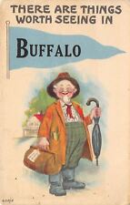 """""""There Are Things Worth Seeing"""" in Buffalo New York~Rube Farmer W/ Bags~1915 PC"""