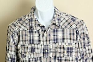 Lucky Brand Men's gray, white & blue patchwork thick Western Snap l/s shirt XL