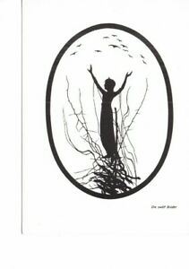 ART postcard: SILHOUETTE OF GIRL IN TREE & BIRDS