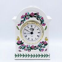 "Portmeirion Botanic Garden Decorative Butterfly Floral Quartz Desk Clock 6 3/8""H"