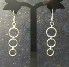 Ring O Silver Plated Drop Dangle Earrings BDSM Sub Slave