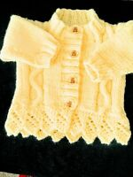 """New Hand-knitted Baby's Lemon Lace Trim Cardigan 14"""" 0-1 Month"""